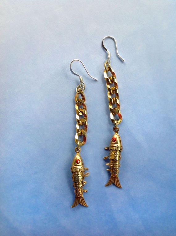 Gold fish bone earrings vintage articulated fish by for Fish bone earrings