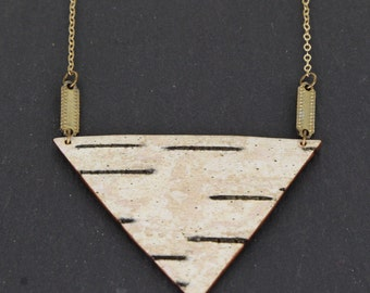 Birch bark necklace, gold chain, Tri