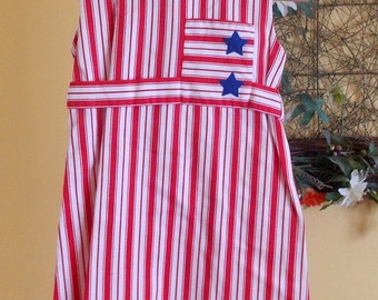 Vintage Saks Fifth Avenue red white blue stripe girls dress 8