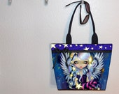Jasmine Becket-Griffith Angel of Starlight tote bag, book tote, large purse, canvas tote, shoulder bag