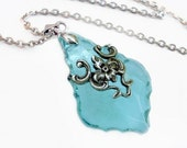 Aqua French Cut Prism in Silver Filigree Necklace Jewelry Teal Crystal Jewellery
