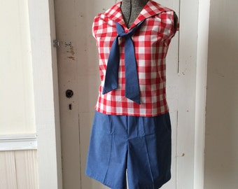 1960s Deadstock Shorts Set Red Gingham Midi Top w/ Blue Chambray Tie and Shorts Size 14 NOS