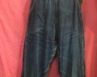 Ladies 50s Vintage SIDE Zip FLANNEL Lined JEANS 1950s
