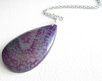 Aqua & Purple Agate Necklace: Teal Green Stone Pendant, Crackle Agate Jewelry
