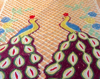Vintage Chenille Bedspread 1940s 1950s Peacock Size Double or Full Bed