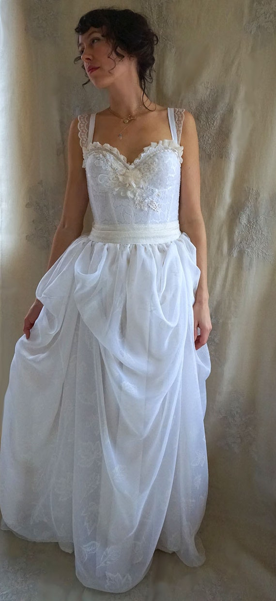 Woodland bustier wedding gown whimsical dress woodland boho for Woodland fairy wedding dress