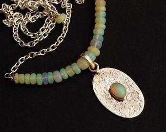 Opal Necklace - Hammered Natural Opal pendant - Gemstone - Artisan pendant - october birthstone