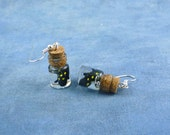 Spotted Salamander Specimen Jar Earrings, Handmade Biology Jewelry