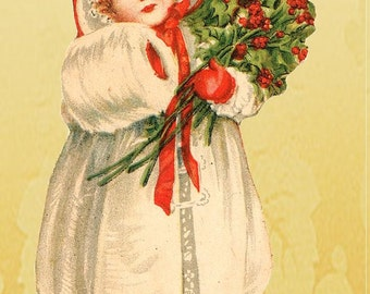 Digital Christmas Collage, Vintage Girls of Christmas Collage, ACEO Collage for tags, decorations, scrapbooking, Instant Download and Print