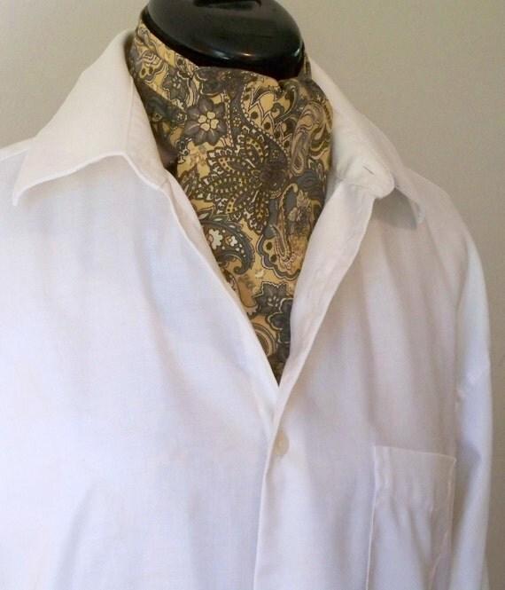 Paisley Cravat, Short Day Ascot,  All Cotton Cravat, Gold Brown Paisley