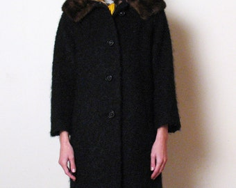 1960s CURLY WOOL BOUCLE fur coat