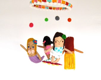 Surfin' Beach Baby Mobile // Perfect fun colorful decor for a new California or Hawaii baby's room