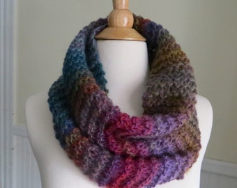 Relaxed Knit Cowl in Muted Blue, Purple, Yellow