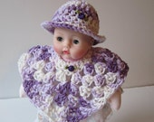 Huggums Doll Poncho and Brimmed Hat,  Purple and White 2 Piece Set, Fits Huggums Baby Doll, Cotton Doll Clothes, Crochet Doll Poncho and Hat