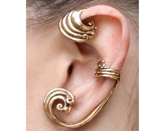 Ear Wrap Wave Ear Wrap Wave Ear Cuff Wave Jewelry Wave Earring Fashion Ear Wrap Non Pierced Ear Wrap Ocean Earrings Ocean Inspired Beach