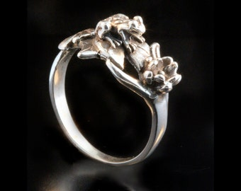 Frog Ring Silver Lilypad Ring Frog Jewelry Frog Flower Jewelry Lily Pad Flower Ring Frog Art Frog Lover Lotus Ring Lily Ring Pinky Ring