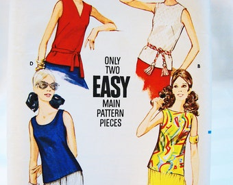 Easy To Sew Ladies Top Pattern Misses Size 12 Sleeveless Tank Top Sewing Pattern