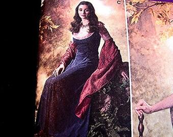 Womens Medieval Renaissance Pattern Costume Gown Dress Pattern Woman Costume Sewing Pattern size 10 12 14 16 18 UNCUT