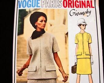 1960s Dress Pattern Vogue Paris Original Pattern Givenchy size 14 Womens 2 piece Dress Jackie O Style Dress Vintage Vogue Pattern