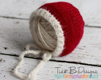 Santa inspired newborn bonnet in off-white and deep red