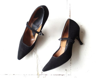 Mary Jane Heels / Vintage 1950s Shoes / Stiletto Heels / 50s Shoes / Black High Heels / Size 6 1/2