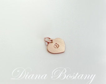 A La Carte - Monogram Heart Charm,  Initial Charm - Sterling Silver,  14K Gold fill, or 14K Rose Gold fill, Heart Gift, Valentine Gift