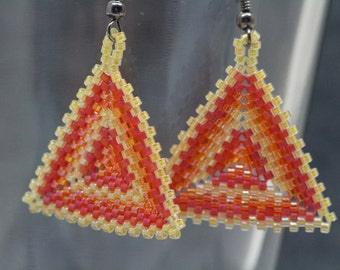 Red Orange Yellow Beaded Dangle Earrings / Multicolored Striped Peyote Triangle Jewelry by randomcreative on Etsy