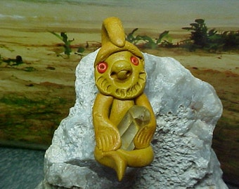 Back From The Crystal Mines, Crystal Miner Gnome or Troll Clay Pendant or Focal Bead e071