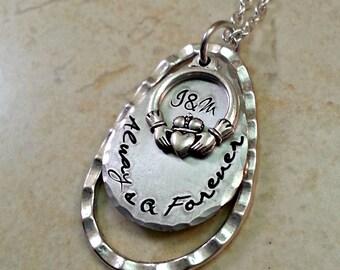 Irish Claddagh Necklace, Romantic Irish Gift, Personalized Irish Jewelry, Custom Irish Jewelry, Engagement Gift, Anniversary Gift