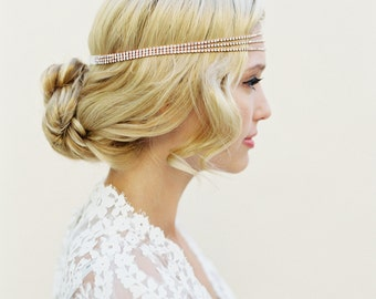 Rhinestone Headband, Rose Gold Hair Chain, Coachella Headband, Bohemian Headband, Gatsby Headpiece, Silver, Gold, Rose Gold, Black, 1411