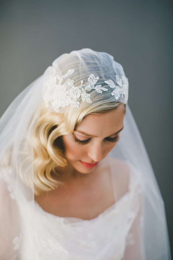 Lace Wedding Veil Juliet Cap Veil Lace Bridal Veil By