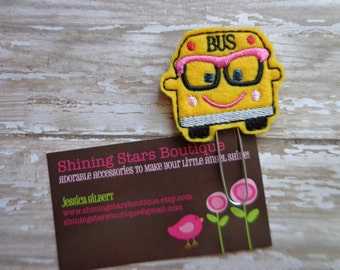 Paperclips - Bright Yellow, Pink, and Black Nerdy School Bus Paper Clip Or Bookmark - Accessories For Teacher Planners, Calendars, Or Books
