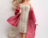 Barbie Clothes Handmade Dress Handbag Stole