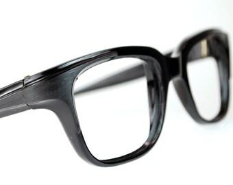 French Men Thick Black Horn Rim Cat Eye Glasses Frame France Unisex Optical Frame 1960s Mad Men
