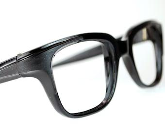 Black Horn Rim Eyeglasses Frames Mad Men Black Thick Squared Optical Frame France 1960s