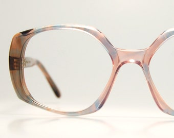 1970s French Eyeglasses Squared Oversized Womens Sunglasses Smoke Rose Dusty Blue Indie Hispter Chic  Frame France