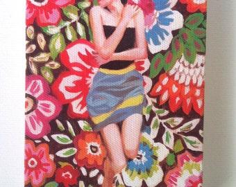 Rimma 2 / Tiny canvas print - Folk art painting PRINT -Portrait painting -Print of Original acrylic painting
