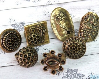 SALE 7 Brass , antique Gold Bronze plated ring blanks , round & oval ring settings, Boho vintage oxidized rustic , adjustable wide band - W