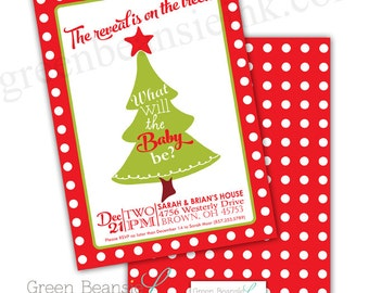 CHRISTMAS Baby Gender Reveal Party Invitation - Printing Available