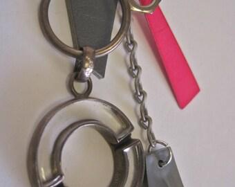 Single Earring: 80s Redux Modernist Vintage Assemblage Art to Wear Statement LONG Dangle Hardware Geometric Grey Leather Neon Hot Pink