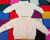 Traditional hand knitted by Nanna's baby cardigan sweater gold set age 12 months 1 year twins unisex double trouble cable knit super warm!