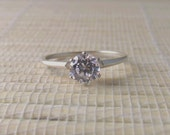 Cubic Zirconia Ring Sterling Silver April Alternative Birthstone Made To Order
