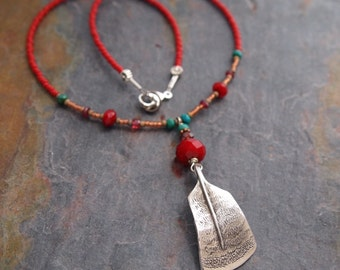 Gemstone and Turkey Feather Necklace