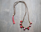 Mixed Media Boho Necklace / Red Drops Brown Necklace /  Gemstone Necklace / Coral necklace