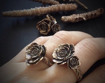 Rose Ring - Ready to ship - Bronze - One of a Kind - hand built and cast in my studio - Jamie Spinello