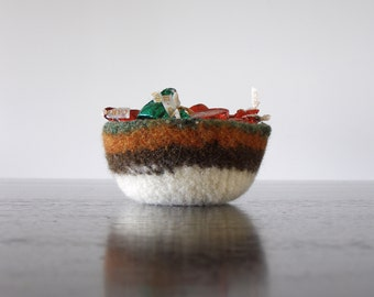 scratch free jewelry dish - felted wool bowl - striped shades of green, orange, brown, and white - earth tones - catchall - candy dish