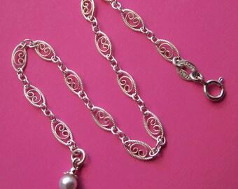 Sterling Silver Filigree Bracelet With White Swarovski Pearl Charm