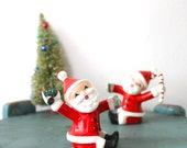 Vintage Napco Santa Candle sitters. Candle Holders,  Package and Candy cane Christmas find