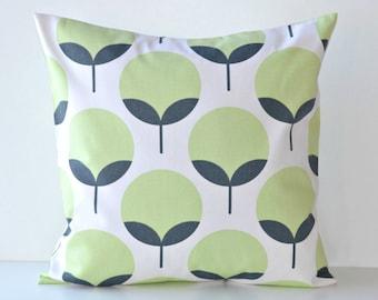 Green Grey Pillow COVER - Caroline Kiwi Charcoal  - Flower Buds Decorative Throw - 16x16, 18x18, 20x20