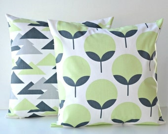 Pair of Pillow Covers, Green Grey, Caroline, Jacklyn - Kiwi Charcoal  - Set of 2 - Premier Prints - 16x16, 18x18, 20x20